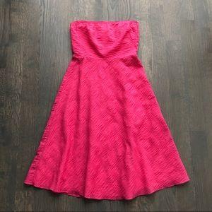 Got Pink Textured Cotton Strapless summer Dress